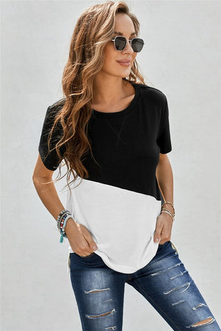 Diagonal Color Block Top - Black