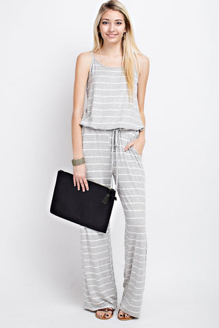 Casual Striped Jumpsuit  - Heather Gray