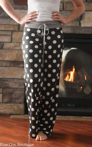 Casual Polka Dot Pants - Charcoal - Blue Chic Boutique  - 4