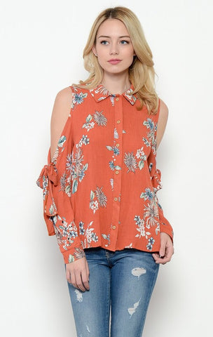 Vintage Floral Cold Shoulder Blouse - Rust