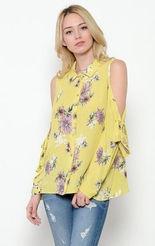 Vintage Floral Cold Shoulder Blouse - Mustard