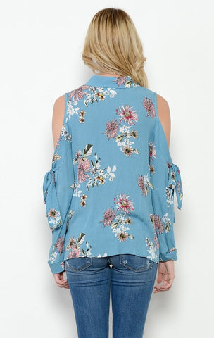 Vintage Floral Cold Shoulder Blouse - Blue
