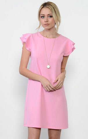 Ruffle Sleeve Spring Dress - Pink