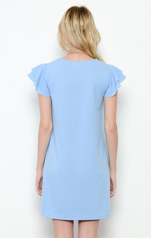 Ruffle Sleeve Spring Dress - Light Blue