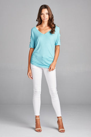 Entertaining Evening Cut Out Top - Aqua