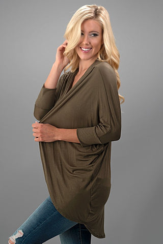 Dolman Cardigan - Olive - Blue Chic Boutique  - 1
