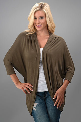 Dolman Cardigan - Olive - Blue Chic Boutique  - 2