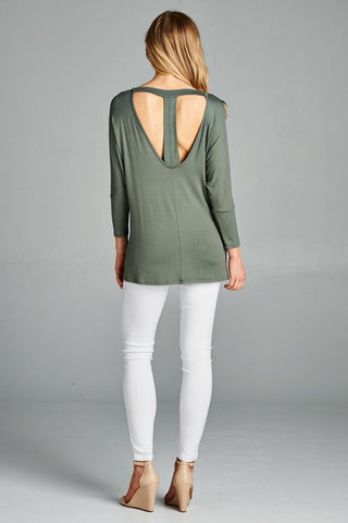 T- Back Tunic Top - Olive