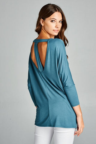 T- Back Tunic Top - Antique Blue