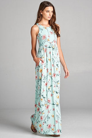 Garden Party Maxi Dress - Mint Meadow Flowers