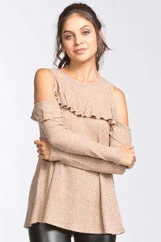 Cold Shoulder Ruffle Sleeve Sweater - Camel