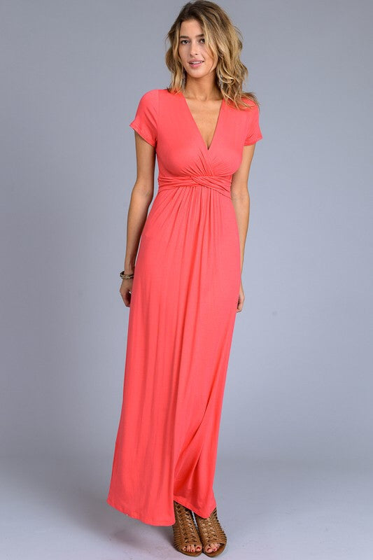 Solid Short Sleeve Maxi Dress - Coral | Blue Chic Boutique