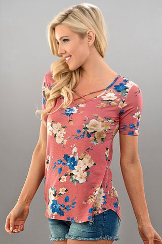 Spring Bouquet Floral Criss Cross Top - Mauve