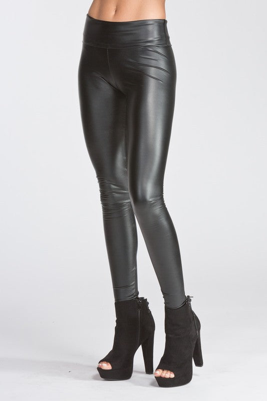 0f84c0558ad38b High Waisted Thick Pleather Leggings - Black | Blue Chic Boutique