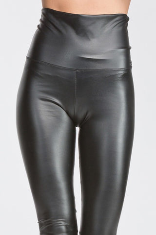 High Waisted Thick Pleather Leggings - Burgundy