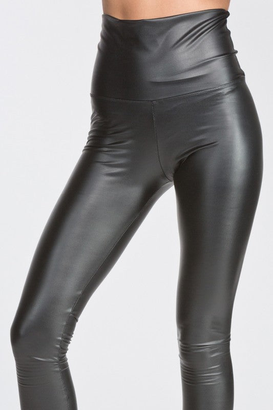 5baf1540d8bb7 High Waisted Thick Pleather Leggings - Brown | Blue Chic Boutique