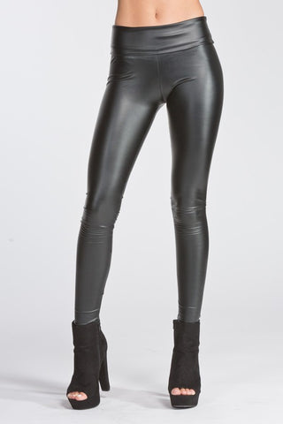 High Waisted Thick Pleather Leggings - Black