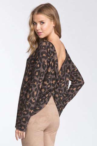 Leopard Print V- Back Top - Mocha