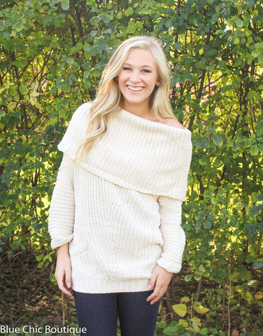 Off Shoulder Sweater - Cream - Blue Chic Boutique  - 3