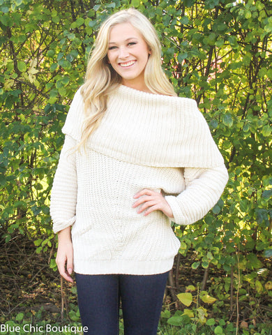 Off Shoulder Sweater - Cream - Blue Chic Boutique  - 2