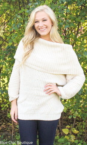 Off Shoulder Sweater - Cream - Blue Chic Boutique  - 1