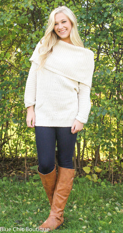 Off Shoulder Sweater - Cream - Blue Chic Boutique  - 4
