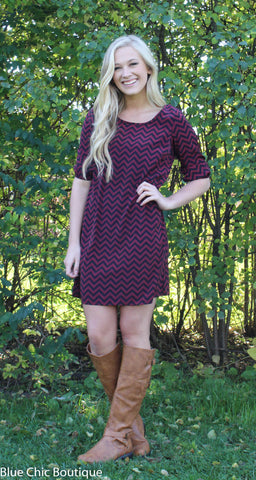 Maroon and Black Chevron Bow Back Tunic Dress - Blue Chic Boutique  - 1