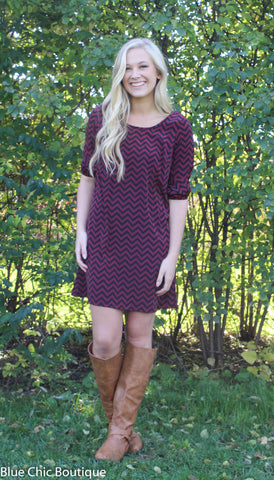 Maroon and Black Chevron Bow Back Tunic Dress - Blue Chic Boutique  - 3