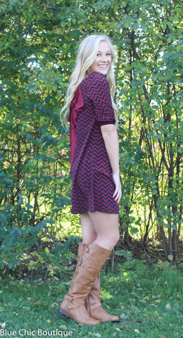 Maroon and Black Chevron Bow Back Tunic Dress - Blue Chic Boutique  - 4