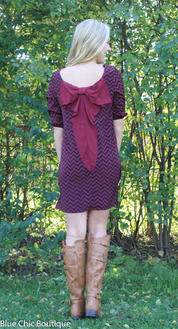 Maroon and Black Chevron Bow Back Tunic Dress - Blue Chic Boutique  - 2