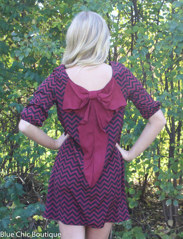 Maroon and Black Chevron Bow Back Tunic Dress - Blue Chic Boutique  - 6