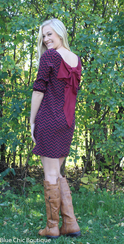 Maroon and Black Chevron Bow Back Tunic Dress - Blue Chic Boutique  - 8