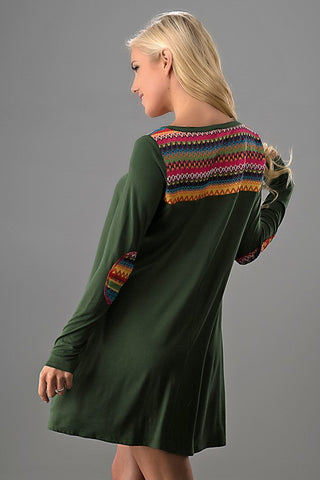 Embroidered Shift Long Sleeve Dress - Olive