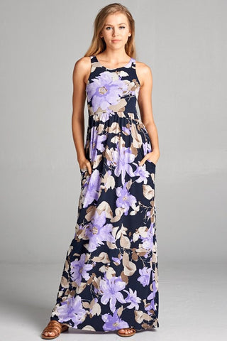 Garden Party Maxi Dress - Black and Lavender