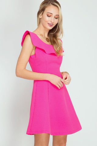 Uptown Girl Dress - Hot Pink
