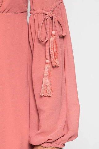 Peasant Layered Dress - Dusty Coral