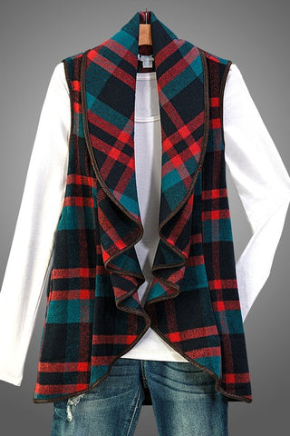 Plaid Fall Vest - Green