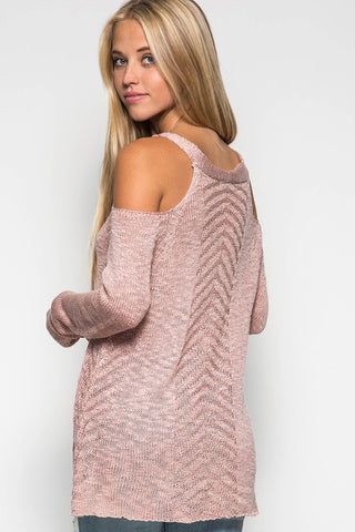 Cold Shoulder Sweater - Dusty Rose - Blue Chic Boutique  - 1