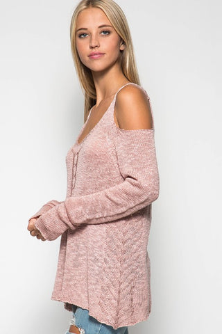 Cold Shoulder Sweater - Dusty Rose - Blue Chic Boutique  - 3
