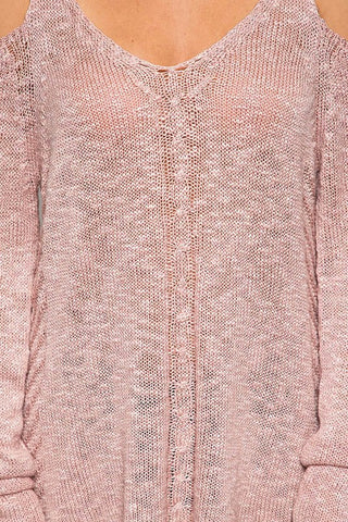 Cold Shoulder Sweater - Dusty Rose - Blue Chic Boutique  - 4
