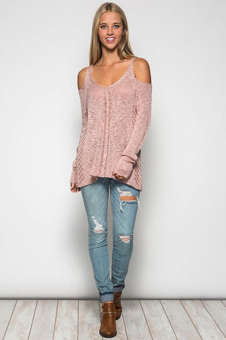 Cold Shoulder Sweater - Dusty Rose - Blue Chic Boutique  - 5
