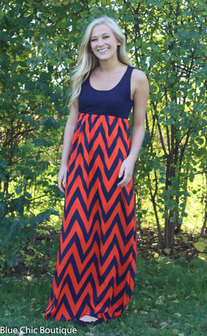 A Step in the Right Direction Chevron Maxi Dress - Orange and Navy - Blue Chic Boutique  - 5