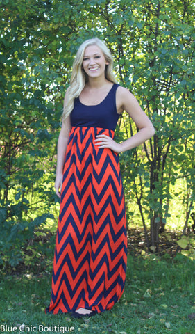 A Step in the Right Direction Chevron Maxi Dress - Orange and Navy - Blue Chic Boutique  - 1