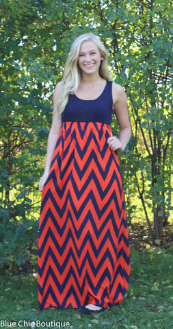 A Step in the Right Direction Chevron Maxi Dress - Orange and Navy - Blue Chic Boutique  - 2