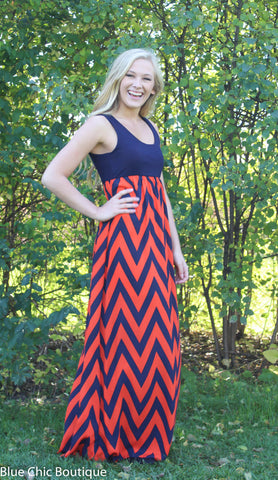 A Step in the Right Direction Chevron Maxi Dress - Orange and Navy - Blue Chic Boutique  - 6