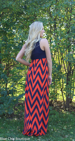A Step in the Right Direction Chevron Maxi Dress - Orange and Navy - Blue Chic Boutique  - 7