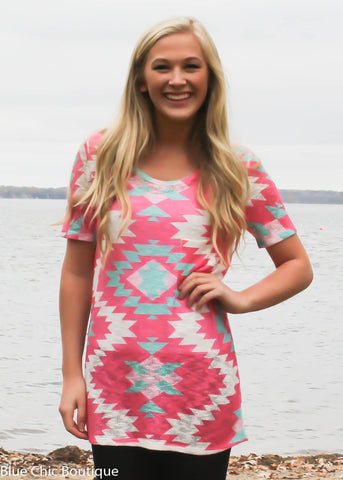 Short Sleeve Tunic Top - Pink Aztec - Blue Chic Boutique  - 1