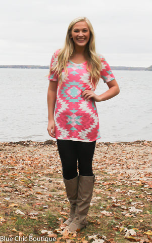 Short Sleeve Tunic Top - Pink Aztec - Blue Chic Boutique  - 3
