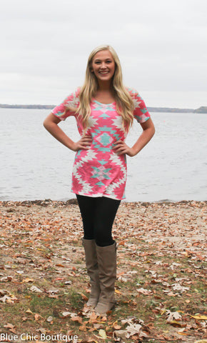 Short Sleeve Tunic Top - Pink Aztec - Blue Chic Boutique  - 6