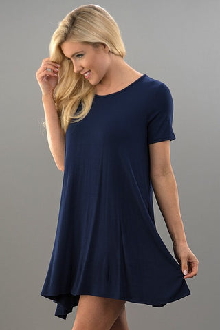 Simple Swing Dress - Navy
